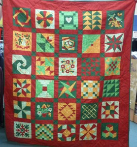 Beginners Sampler Quilt. Ongoing classes weekdays and weekends, with start dates staggered throughout the year.I have three teachers delivering their own sampler quilts. The photo is of Denise's quilt. Click on the  image and it will enlarge.
