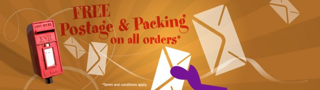 Free postage and Packing on all web orders