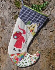 St Nick's Feast. Conjouring up Good King Wenceslas' sentiments  of bringing the poor in from the cold. Prepare in plenty of time for Christmas. join us in making this sumptuous stocking on Saturday 13th of June. A kit will be available to buy on the day.